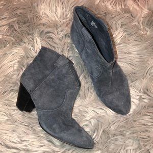 Anthro Ash Jalouse grey suede Booties heeled 9